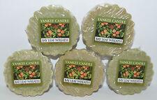 LOT OF 5 YANKEE CANDLE BAY LEAF WREATH TARTS WAX MELTS CANDLE WARMER TART GREEN