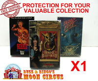 1x VHS MOVIE CARDBOARD BIG BOX - CLEAR PLASTIC PROTECTIVE BOX PROTECTORS SLEEVE