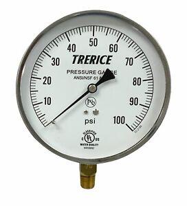 "Stainless Steel Pressure Gauge, Lower Conn. 1/4"" NPT  4.5"" Trerice - 0-200 PSI"
