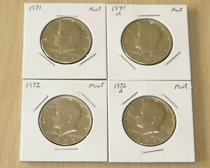 4 Kennedy Half DollarUncirculated (2P13-16) 1971pd,1972pd great looking coins !