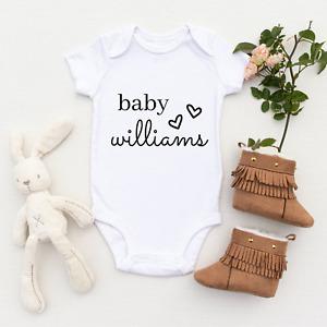 Personalised Baby Grow Custom Baby Vest Baby Announcement Cute Personalised Baby