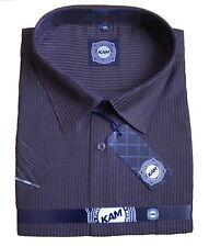 *NEW* Mens Big Size Kam Striped Plum Short Sleeve Shirt 4XL 5XL 6XL 7XL 8XL