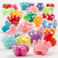 Novelty Shaped 10mm Colourful Mixed Assorted Plastic Beads Jewellery Craft Pack