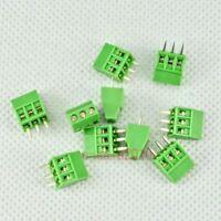 "10pcs 3 Poles/3 Pin 2.54mm/0.1"" PCB Universal Screw Terminal Block Connector G02"