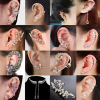 Women's Fashion Crystal Clip Ear Cuff Stud Punk Wrap Cartilage Earring Jewelry~