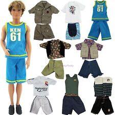 6Pcs=3 Random Summer Outfits Shorts Shirt Boy Sports Clothes For Barbie Ken Doll