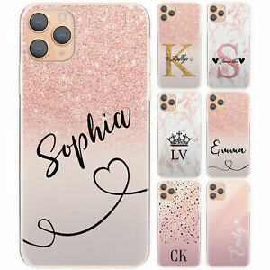 INITIAL PHONE CASE, PERSONALISED PINK SPOT MARBLE HARD COVER FOR HUAWEI/HONOR