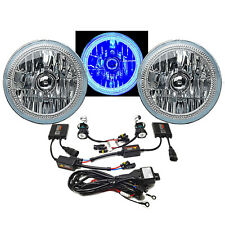 "7"" COB Blue LED Halo Headlights H4 6000K HID Light Kit Fits 76-16 Jeep Wrangler"