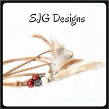 Feather Boho leather string Necklace/ Head Band - Free Postage - LIGHT COFFEE