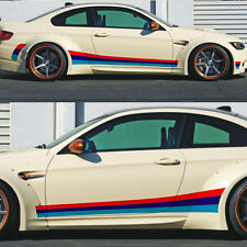 A Pair Vinyl Tricolour Racing Stripes Car Sticker Auto Side Skirt Decal For BMW