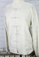 Eileen Fisher 100% Silk Asian Jacket Textured Ivory-White Size XL Toggle Knots