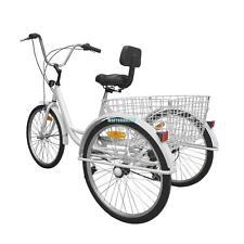 "3-Wheel Unisex Adult 24"" Tricycle Bike Bicycle Trike Cruise 6-Speed W/ Basket"
