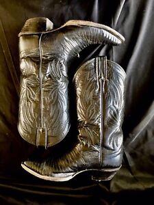 Vintage USA Justin Lizard Leather BLACK Cowboy Boots 7b Show Worn 1980s Woman