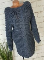 NEU KNIT WEAR CHUNKY GROB STRICKKLEID ZOPFMUSTER BOUTIQUEWARE ANTHRAZIT 36-40