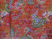 Indian Ethnic Paisley Kantha Quilt Twin Size Printed Cotton Bedspread Throw Boho