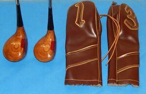 Vtg Womens RH Wilson Persimmon Wood Driver & 3 Wood w/Steel Shafts & Head Covers