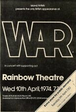 9/3/74PN06 WAR IN CONCERT AT THE RAINBOW THEATRE ADVERT 7X5