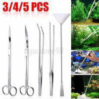 3/4/5 Pcs Aquarium Live Plant Aquascaping Scissor Tweezers Trimming Tool Trim