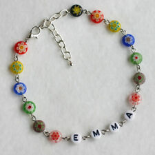 Unique Personalised Any Name Millefiori Glass Flowers Anklet Ankle Bracelet Gift