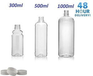 Clear PET Plastic Bottles With White Screw Caps  Drinks Bottles Home Brew Beer