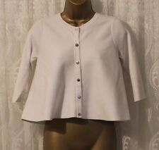 Karen Millen Round Neck White Popper Knit Jumper Cardigan Top XS 8