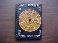 Celtic Cross Journal Diary Notebook Book Spiral Bound Beaded Front Extra Sheets
