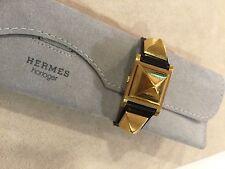 Vintage Authentic Hermes Medor Ladies Secret Watch Black Strap EUC 1993