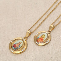 Jesus Virgin Mary Religious God Christ 18k Gold Plated Pendant Necklace Gifts