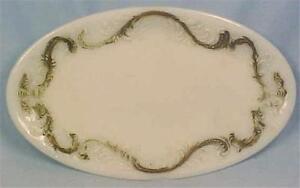 Antique Milk Glass Bureau Tray Oval Comb & Brush Perfume Vanity Scrolls
