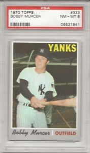 1970 TOPPS # 333 BOBBY MURCER, PSA 8 NM-MT, NEW YORK YANKEES L@@K !
