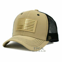 USA American Flag hat Pique Snapback hat Tactical Mesh Baseball cap- Khaki Beige