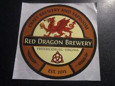 RED DRAGON BREWERY Fredericksburg Virginia STICKER decal craft beer brewing