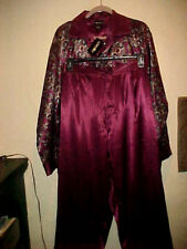Nwt Unisex Pajamas By Jt Becket Paisley Top With Pockets  00006000 Pant Burgandystripe Lg