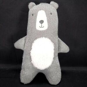 "Cloud Island Neutral Gray Silver Knit Plush Bear for Baby Stuffed Animal 9"""