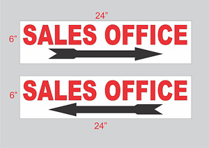 """Sales Office w Arrow 6""""x24"""" REAL ESTATE RIDER SIGNS Buy 1 Get 1 FREE 2 Sided"""