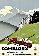 Art Ad COMBLOUX Mont Blanc Golf Tennis  Travel  Deco   Poster Print