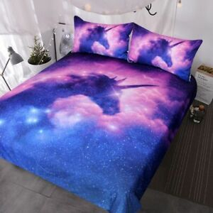 Galaxy Unicorn Bedding Set Psychedelic Space Duvet Cover 3 Piece Pink Sparkly