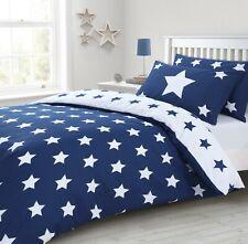 Réversible Coton Riche étoiles bleu imprimé de Couette et Taie D'Oreiller Ensemb...