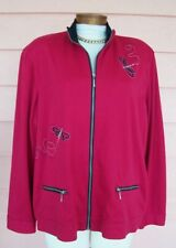 Alfred Dunner Sz 18 Walk Exercise Travel 2 Pc Jacket Pants Dragonflies Raspberry