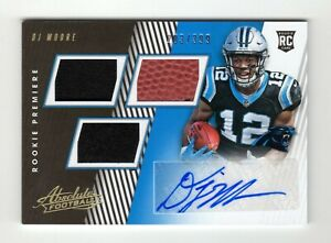 D J MOORE NFL 2018 ABSOLUTE AUTOGRAPH MATERIAL RC #/399 (CAROLINA PANTHERS)