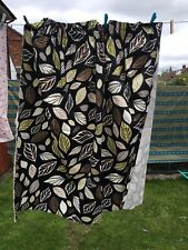 A Pair Of Black & Green Retro Cotton Curtains  by IKEA leaf design fabric
