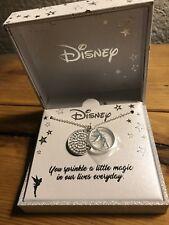 Bnib Disney Silver Necklace Tinkerbell Princess Bling Charm Rhinestone w/Box $50