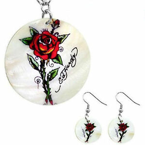 """Ed Hardy Mother of Pearl Single Rose Necklace & Earring Jewelry Set 18"""" Chain"""