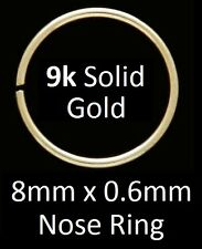 Solid 9k Gold - Nose Ring - 8mm Diameter x 0.6mm ( 22gauge )  - BOXED