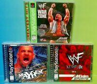 WWF Attitude, War Zone, + WCW Mayhem Wrestling Playstation 1 2 PS1 PS2 Game Lot
