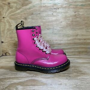 Dr Martens Patent Leather Lace Up Boots Women's 6 Pink 1460W Docs Air Wair