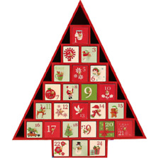 Reusable Advent Calendar - Red Christmas Tree Shaped Wooden Drawers Timeless #NG