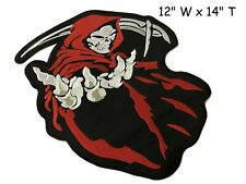 "HOODED GRIM REAPER SKULL 14"" H x 12"" W iron on Back patch Choose Color (F1)"