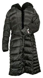 Centigrade Women's Coat Sz L Puffer With Faux Fur Details Black A382172