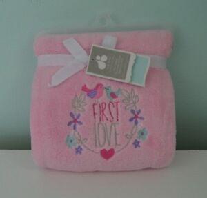 Just Born First Love Baby Blanket Pink Heart Birds Flowers Purple Blue Plush New